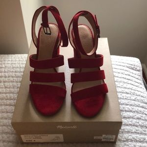 NIB Madewell size 9 red suede sandals